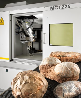 industrial CT scanner with dinosaur eggs